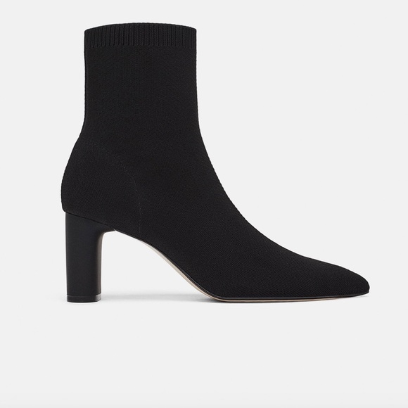 Zara Fabric Heeled Ankle Boots Temp